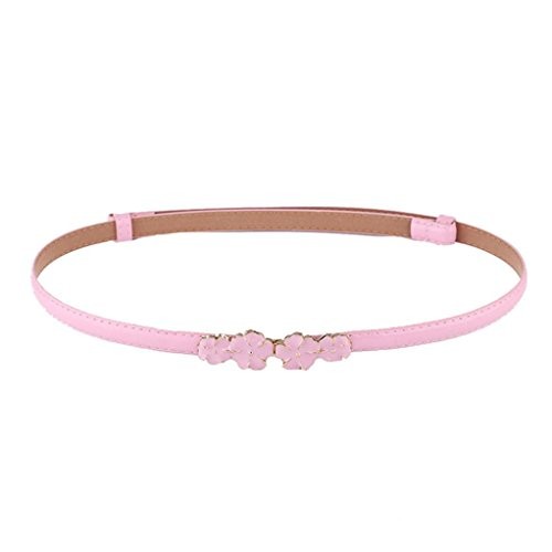 Allywit Elegant Fashion Women Belt Rose Buckle Leather Waistband Accessories (Pink) - 92 Automatic Rose