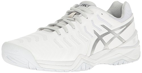 ASICS Men's Gel-Resolution 7 Tennis Shoe, White/Silver, 11 M US