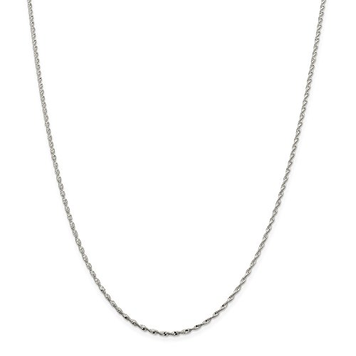 Sterling Silver 1.65mm Twisted Herringbone Chain Necklace - 18 Inch