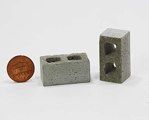 Dollhouse Miniature 1:12 Scale Set of 2 Artisan Cinder Blocks in Real - Block Miniature Cinder