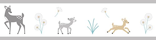 Sweet Jojo Designs Baby Childrens and Kids Wall Paper Border for Grey Gold and White Forest Deer ()