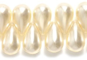 Glass Pearl Bead Drop - Preciosa Ornela Imitation Glass Pearl, Top Hole Drop, 6 by 10-mm, Off White,