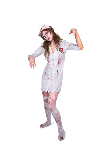 Karnival Women's Zombie Night Nurse Costume Set - Perfect for Halloween, Costume Party Accessory. Trick or Treating (L)