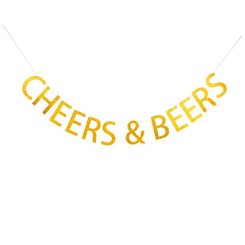 GRACE.Z Cheers&Beers Banner, Gold Glitter Celebrating Party Banner, Birthday Decoration Drink Bar Decor Bachelorette Sign -