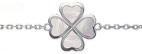 Bracelet avec Pendentif Coeurs Formant un Trèfle en Argent 925/000 et Nacre Blanche