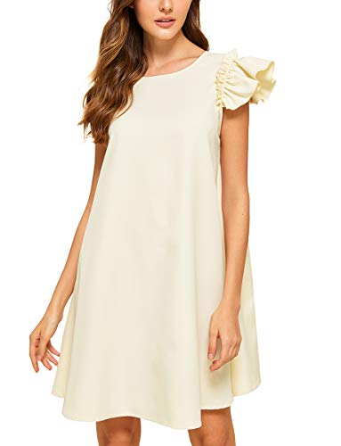 (Romwe Women's Ruffle Trim Sleeve Summer Beach A Line Loose Swing Dress Off-White L)