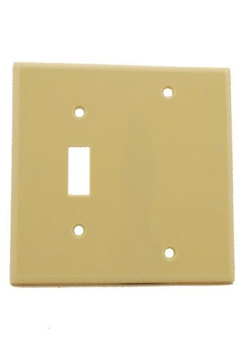 Leviton 86006 2-Gang 1-Toggle 1-Blank Device Combination Wallplate, Standard Size, Thermoset, Box Mount, - Blank Toggle