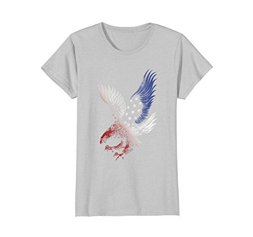 School Eagles Women Shirts (Womens Patriotic T Shirt Apparel Eagle American Flag USA Clothing XL Silver)