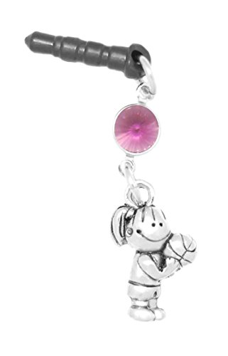 Clayvision Basketball Free Throw Girl Phone Charm Amethyst Colored Crystal February Black Plug