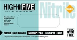 """High Five N811-10 Nitrile Glove, Exam, Powder-Free, 6 mil Thickness, 9-1/2"""" Length, Small, Blue (Case of 1000)"""