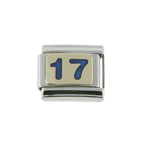 Gold Number 17 Charm for Italian Charm Bracelets Blue Enamel (Blue Silver Enamel Italian Charm)
