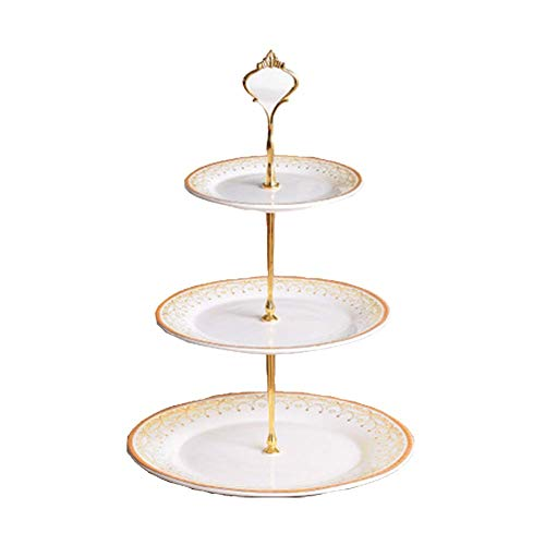3 Tier Round Serving Tray Platters, Appetizer or Dessert Cupcakes and Cake Stand - Centerpiece for Weddings, Tea Party, Holiday Dinners, or Birthday Parties (White & Gold)