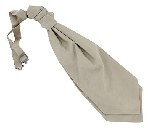 Tie Taupe Plain Cravat Mens Wedding Ruche IYqB1F
