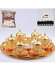 SALE (SET of 6) Ottoman Turkish Greek Arabic Coffee Espresso Serving Cup Saucer Set SILVER