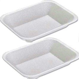 Deli Supplies 500 x C3 Chip de poliestireno blanco bandejas de alimentos