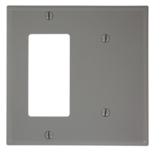 Leviton 80708-GY 2-Gang 1-Blank 1-Decora/GFCI Device Combination Wallplate, Standard Size, Gray