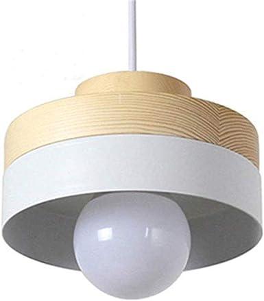 Zenghh Altillo de madera rústico + hierro luz pendiente moderna de café de la barra del restaurante de la lámpara de techo Oficina Estudio Pasillo Pasillo Salón Comedor lámpara de luz [Clase energétic