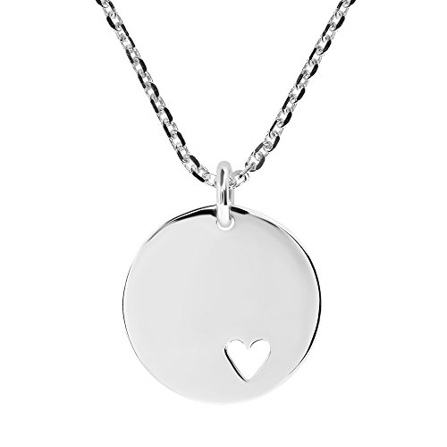 ag Round .925 Sterling Silver Pendant Necklace (Sterling Silver Round Tag Pendant)