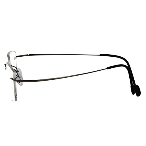 EyeBuyExpress Titanium Rimless Rectangle Gun Reading Glasses Magnification Strength 1.5 by EyeBuyExpress
