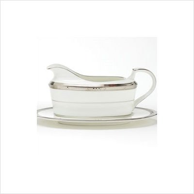 Noritake Chatelaine Platinum 2-Piece Gravy Boat with Saucer