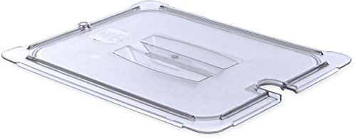 Carlisle 10231U07 StorPlus Half Size Polycarbonate Universal Handled Notched Food Pan Lid, Clear