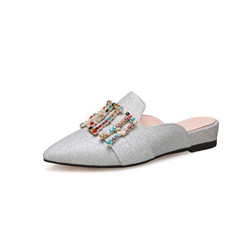 Mujer deslizado Perezoso Plateado Lentejuelas la Señoras Zapatos pie Dedo Moda Vestir Zapatillas en de de Planas del Sandalias Diapositivas qpz4wEnxU