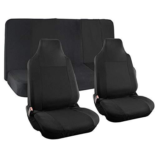 Motorup America Auto Seat Cover Full Set - Fits Select Vehicles Car Truck Van SUV - Solid Black MUA-SCMS4BK
