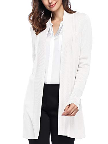 Spicy Sandia Open Front Knit Cardigans for Women Lightweight Cover-up Long Sleeve Cardigan Sweaters, White, Medium