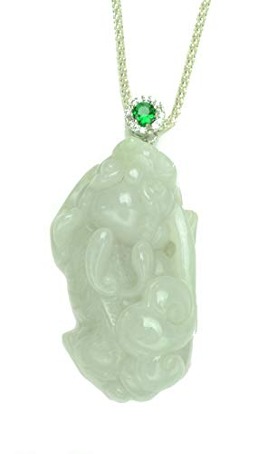 Auspicious Imperial Tiger Grade A Jade Pendant Sterling Silver Chain Necklace - Feng Shui Zodiac Jewelry