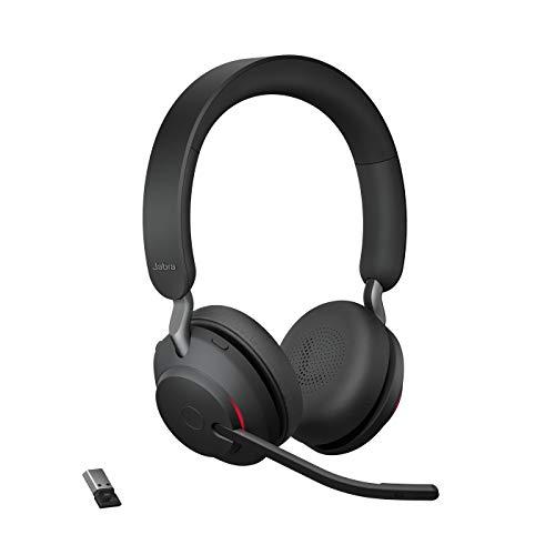 🥇 Jabra Evolve2 65 Auriculares Inalámbricos Estéreo con Cancelación de Ruido – Certificados para Plataformas UC – Batería de Larga Duración – Adaptador Bluetooth USB-A – Negro