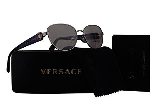 Versace VE1246B Eyeglasses 54-17-135 Silver w/Purple Temples w/Demo Clear Lens 1000 VE - 90s Sunglasses Versace