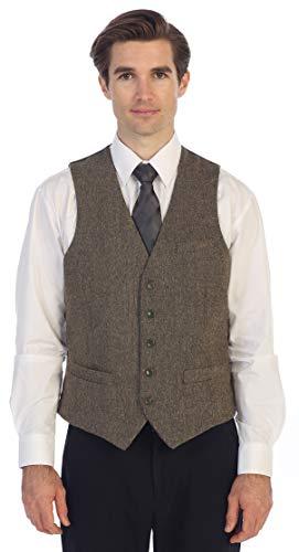 Gioberti Men's 5 Button Slim Fit Formal Herringbone Tweed Suit Vest, Brown Donegal, 4X Large ()