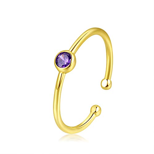 Amethyst Single Stone Ring - espere Sterling Silver Birthstone Stacking Ring Dainty Birthstone Rings Open Adjustable [February - Amethyst]