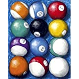 12 Pool Balls - Billiards Framed Art Print