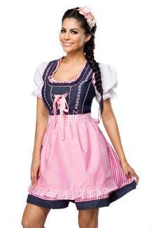 Dirndl mit Bluse und Schürze inklusive Kleid, Bluse, Schürze und Bindeband in pink, blau, weiß