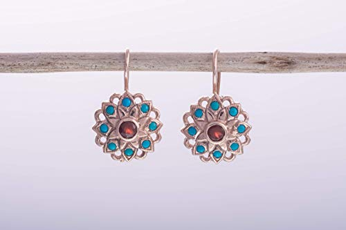 14K Rose Gold Gemstone Earrings with Garnet and Turquoise