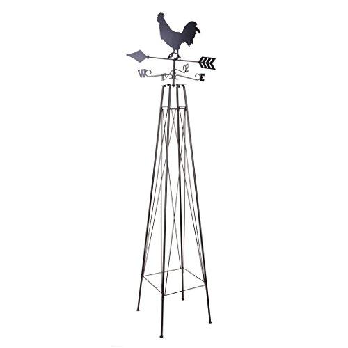 (Panacea 86806 Rooster Weathervane Obelisk Trellises Garden Accessories, 74 in. Rustic )
