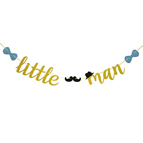 Fadilo Little Man Gold Glitter Banner Sign With Mustache Bowtie Hat for Baby Shower Supplies Decorations ()