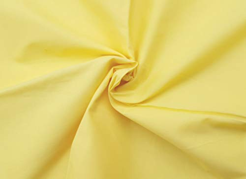 Yellow Broadcloth - Ladyline Plain Lawn Cotton 2 Yards Cut Fabric Yellow Solid Color Dyed Material from India