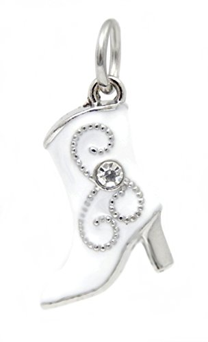J&M Dangle White Cowboy Boot with Crystal Charm Bead for Charms Bracelets