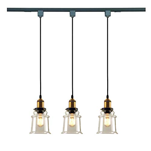 KIVEN H-Type 3 Wire Miniature Pendant Track Lighting Fixture Restaurant Chandelier Decorative Chandelier Instant Pendant Industrial Factory Glass Pendant Lamp,Bulb Include,One Light by Kiven (Image #2)