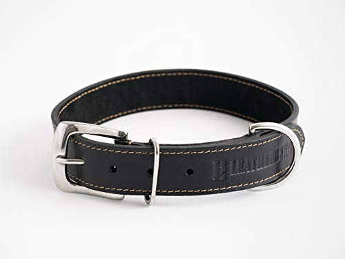 LEATHERBERG Leather Dog Collar Black - 1.4 Wide Leather Collar Best for Large Dogs (Black)