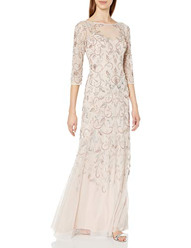 Adrianna Papell Women's Beaded Long Gown with Illusion Neckline, Shell, 6