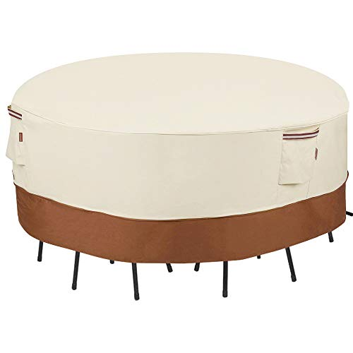 SONGMICS Outdoor Round Patio Table and Chairs Cover 72 Inches, Beige Brown UGTC72M (6 Set Chairs & 60 Inch Outdoor Furniture Dining Table Cover)