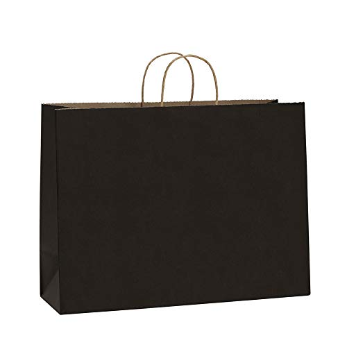 0pcs Black Kraft Paper Bags with Rope Handles for Shopping, Grocery, Mechandise, Party, Gift Bags, Large Size 100% Recyclable Paper Bags ()