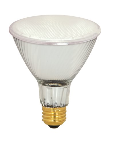 Satco S4132 39 Watt (50 Watt) 500 Lumens PAR30 Long Neck Halogen Flood 42 Degrees Frosted Light Bulb, Dimmable