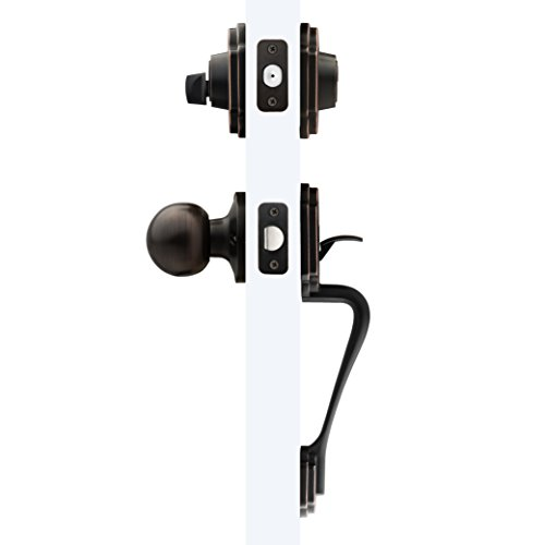 LOKËT Complete Exterior Keyed Entrance Handleset with Deadbolt and Door Knob, Lock Set by, AMG and Enchante Accessories, Oil Rubbed Bronze Complete Entry Lockset