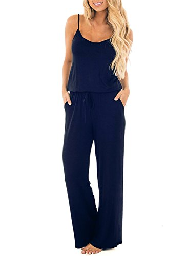 AMiERY Women Summer Solid Sleeveless Wide Leg Jumpsuit High Waist Casual Spaghetti Strap Stretch Lounge Long Pants Rompers (S, Navy Blue)