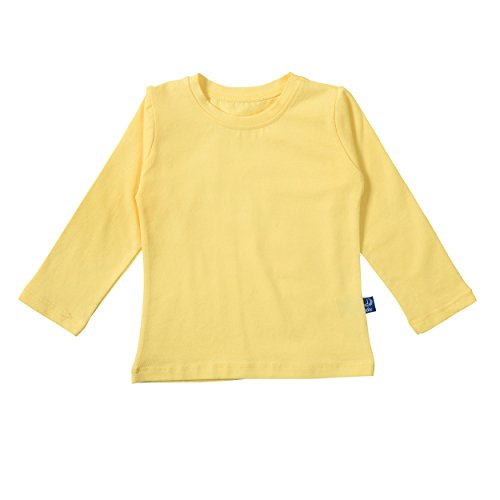 Lilax Girls' Basic Long Sleeve Round Neck T-Shirt 9 Yellow (Cheerleading Outfits Cheap)