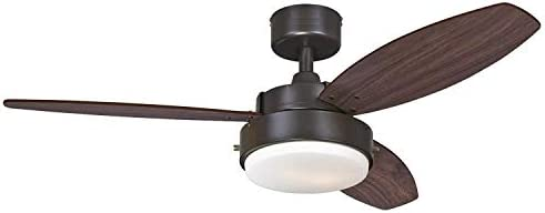 Alloy Two-Light 42 Reversible Three-Blade Indoor Ceiling Fan, Oil Rubbed Bronze with Opal Frosted Glass